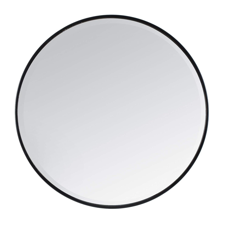 Madeleine Home Asti Dekorativer Wandspiegel   Minimalistischer & moderner abgeschrägter Accent-Spiegel zur Wandmontage, ideal für Badezimmer, Wohnzimmer 91 cm rund, schwarz pulverbeschichtet