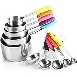 zanmini Set di misurini di 10 pezzi in acciaio inox, 5 misurini di tazze e 5 misurini cucchiai con 2 O-tipo anelli, i manici in silicone, lavabile in lavastoviglie, utensile perfetto da cucina.