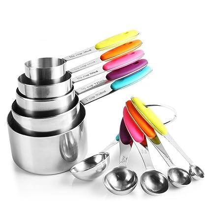 zanmini - 10 tazas y cucharas medidoras de acero inoxidable, con 2 anillas y mango de silicona, para cocinar, hornear postre, medidar ingredientes ...