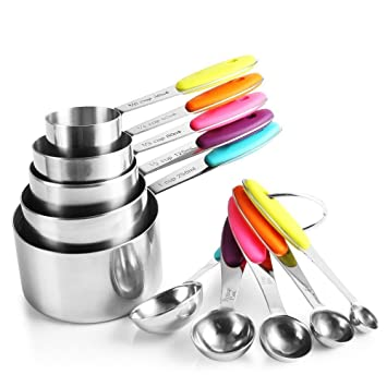 H/&S Measuring Spoon Set of 5 Stainless Steel Metal Measure Cup Spoons for Baking Cooking American Kitchen