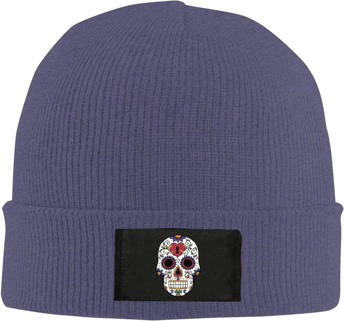 Unisex White Sugar Skull Knitted Hat 100/% Acrylic Cotton Skull Cap