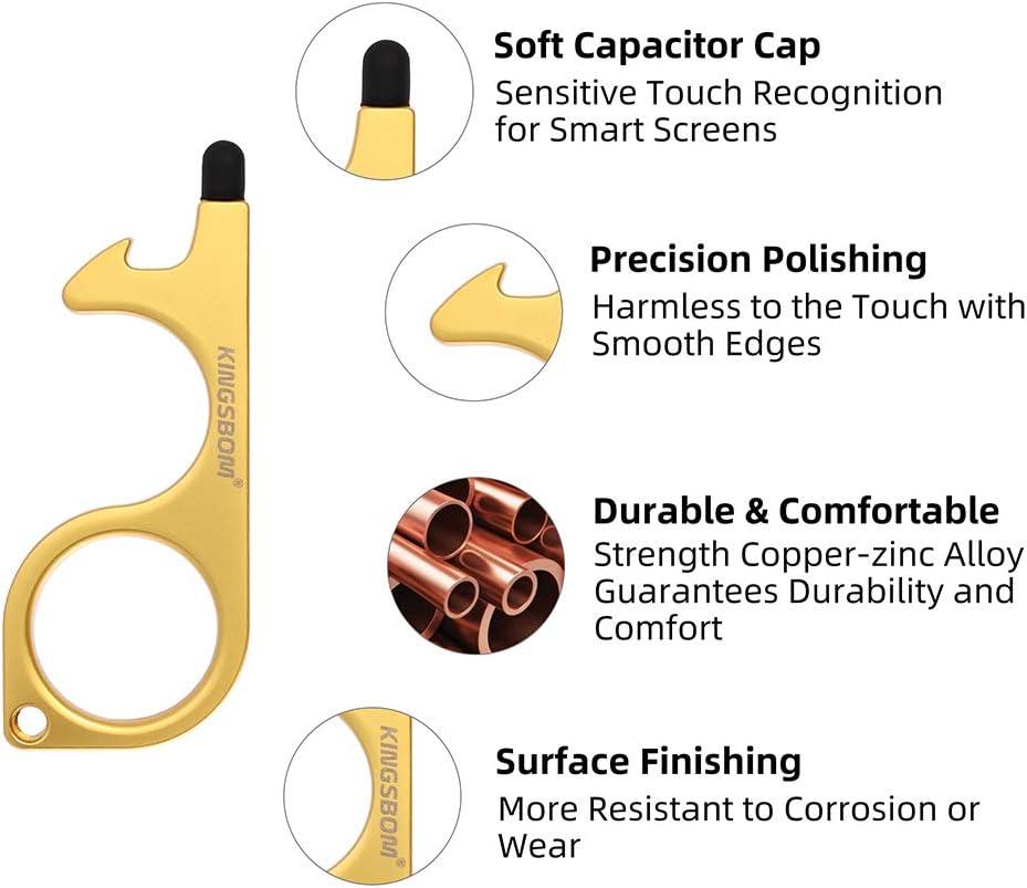 dorado KINGSBOM EDC Herramienta para abrir puertas y llavero con l/ápiz capacitivo sin contacto para mantener las manos limpias 2 unidades