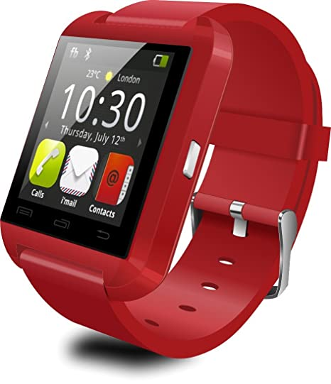 Levipower®SmartWatch U8 Inteligente Reloj para Sistema Android IOS Bluetooth Antirrobo Manos libres (Rojo)