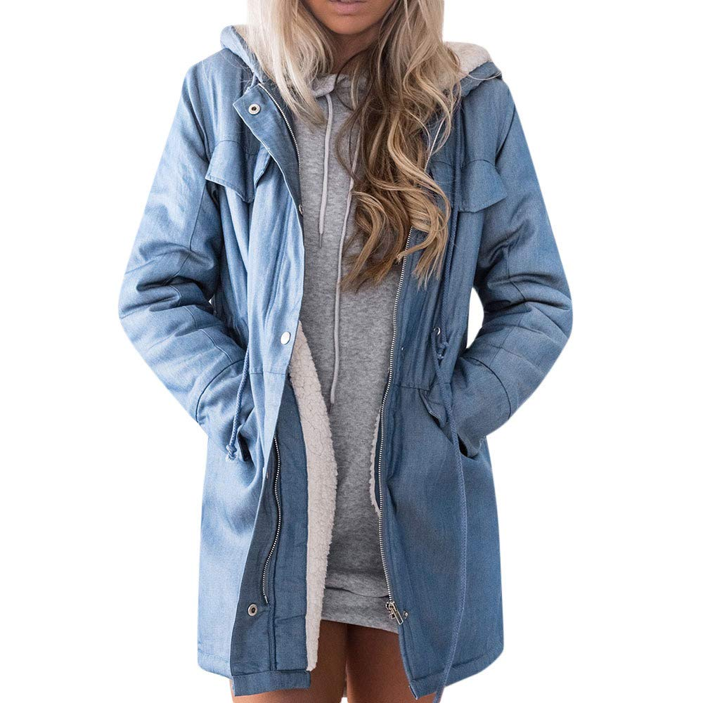 Funnygals - Parka Coat with Hood for Women, Full Zip Up Jackets, Trench Coat with Drawstring Waist and Pockets Loose Fit Blue by Funnygals - Clothing