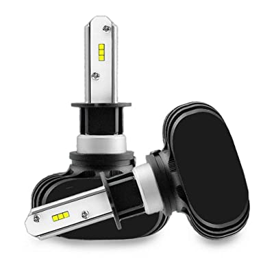 Josi Minea x2 Pcs H3 LED Headlight Bulbs, 50W / 8000 Lumens / 6000K 6500K Extremely Bright Xenon White Bulb Auto Lights – All in One Fanless CSP Chips Headlights Conversion Kit [2-Pack]: Automotive [5Bkhe1506836]