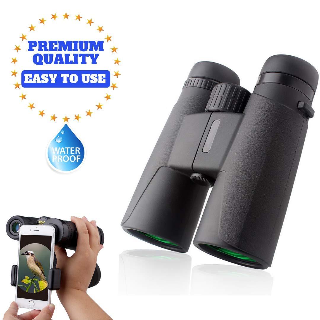 12×42 Best Compact HD Binoculars Power Shock Resistant Low Light Night Vision Scope Waterproof Fogproof Binocular Goggles Hunting Bird Watching Comfortable Non Slip Bag and Phone Adapter