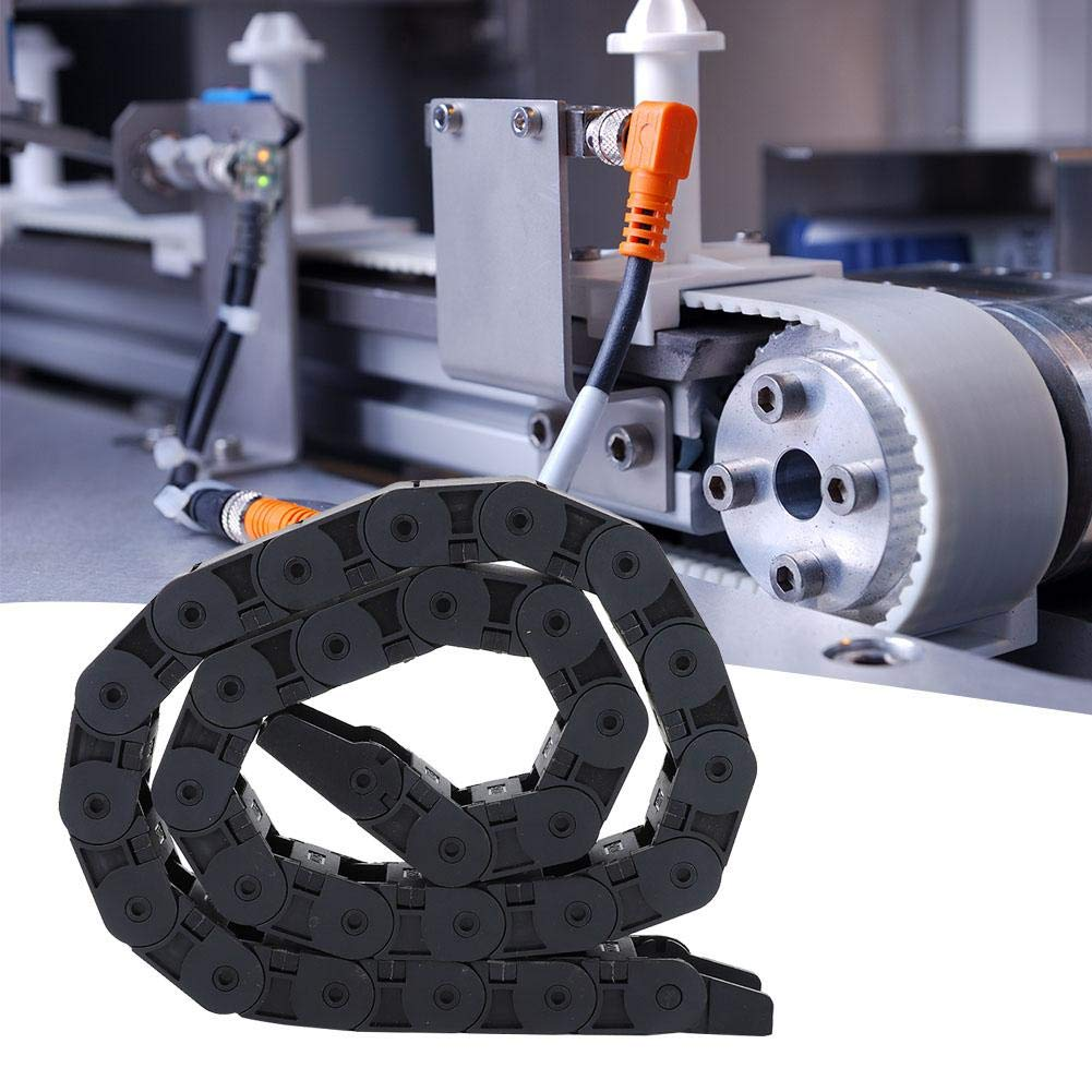 R38 18x25mm Black Nylon Cable Drag Chain Wire Carrier Drag Chain Bridge Type Open Cable 1M Length for 3D Printer CNC Machine