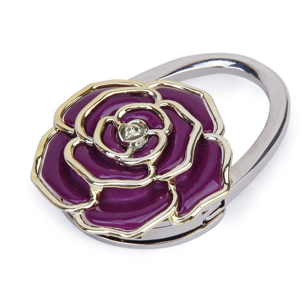 Amazon.com: Folding Handbag Purse Bag Hanger Table Hook Hang Rose Flower  Shape Purple: Home U0026 Kitchen