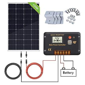 ECO-WORTHY Kit de paneles solares de 120 vatios y 12 vatios: panel solar de 120