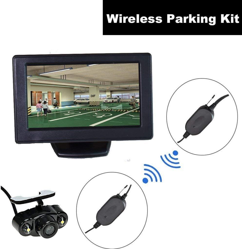 Coche Cámara de Respaldo inalámbrica para automóvil + 4.3 Pulgadas Dash LCD TFT Monitor Kit de estacionamiento Reverso Asistencia Vista Trasera LED Visión Nocturna