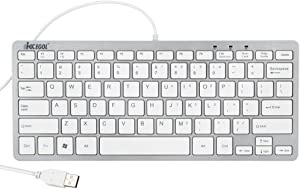 iKKEGOL USB Slim Mini Wired 78 Key Small Super Thin Compact Keyboard for Desktop Laptop PC Win 7 Mac (White)