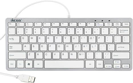 White HUAJI USB Laptop Keyboard Slim Mini Chocolate Wired Keyboard Elegant