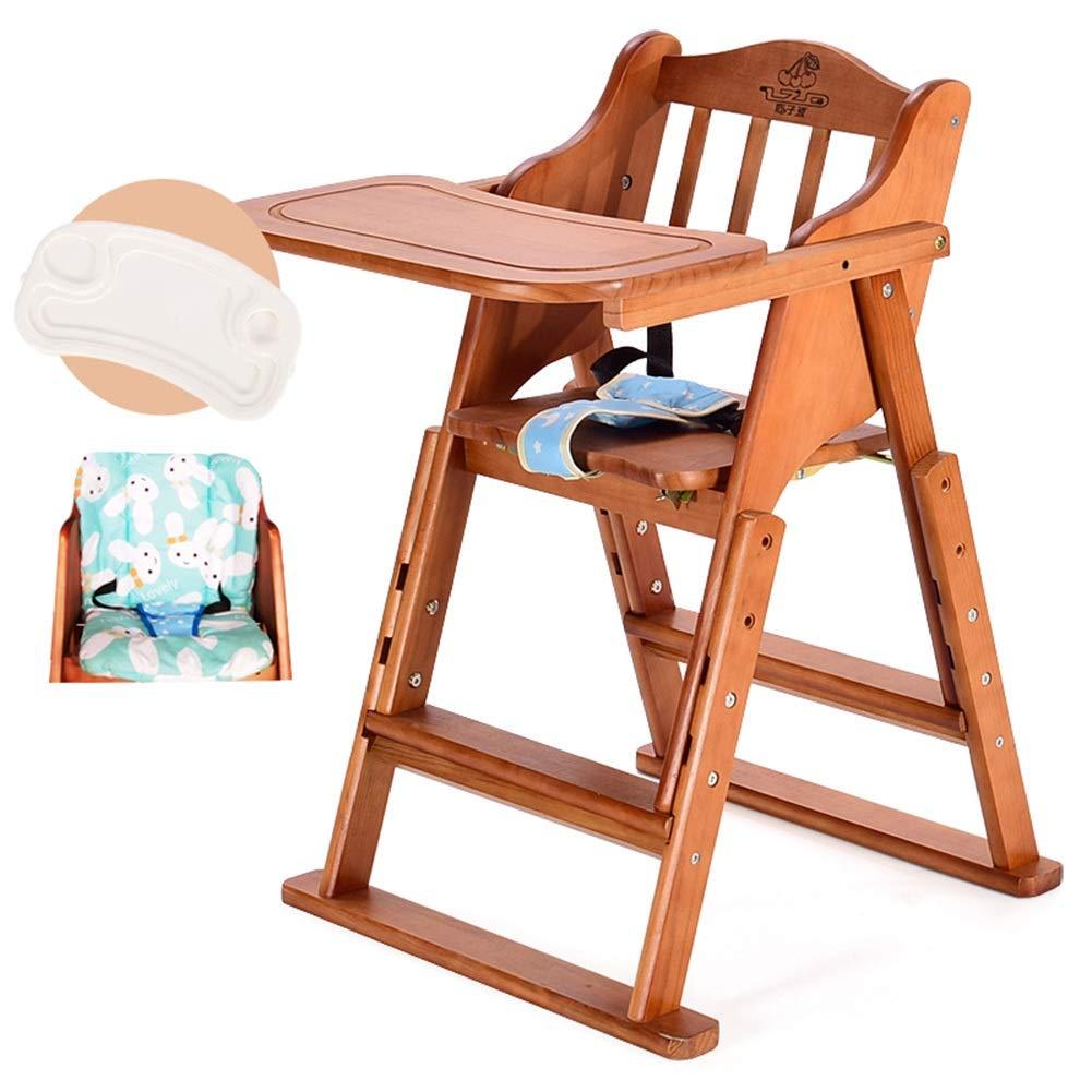 LXLA - 木の高い椅子 - クッションおよび皿が付いている高さ調節可能なハイチェア、幼児/幼児/赤ん坊のための折る供給の食事の椅子 (Color : Coffee color)  Coffee color B07V1F9DLQ
