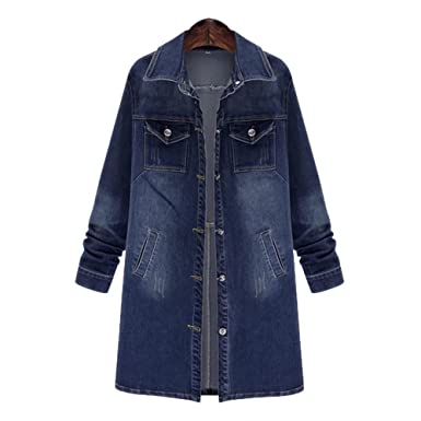 06b80c72ab978 Women s Long Denim Jacket Casual Long Sleeve Loose Trench Coat Outerwear Top  Jeans Outercoat Windbreaker Small