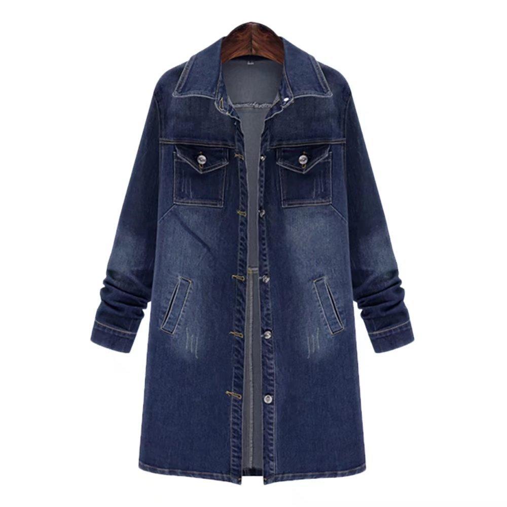 Women's Long Denim Jacket Casual Long Sleeve Loose Trench Coat Outerwear Top Jeans Outercoat Windbreaker Small