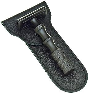 PRIME Safety Razor - 50 Safety Razor Blades - Double Edge Blades - RAZOR MEISTER Safety Razor Kit For Men & Women- Safety Razor Leather Case - German Stainless Steel - Ergonomic - black - Mild