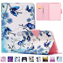 iPad Mini 4 Covers Blue UUcovers(TM) Ultra Slim PU Leather [Kickstand] Cover with [Auto Sleep/Wake Feature] [Corner Protection] Protective Case for Apple iPad mini 4 (2015 Release), Blue Butterfly