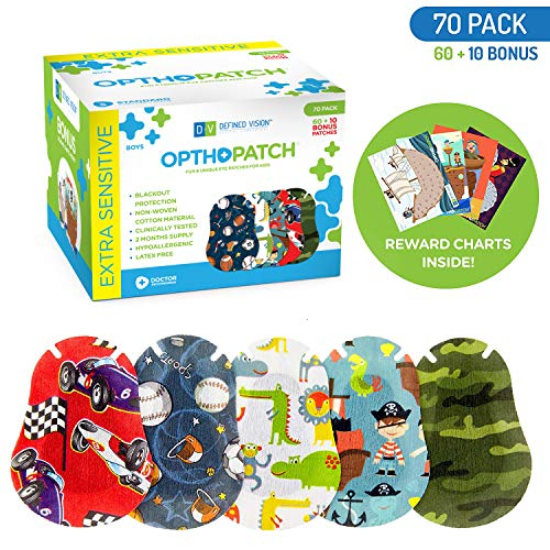 Optho-Patch Kids Eye Patches - Fun Boys Design - 60 + 10 Bonus Latex Free Hypoallergenic Cotton Adhesive Bandages for Amblyopia and Cross Eye - 2 Reward Chart Posters by Defined Vision
