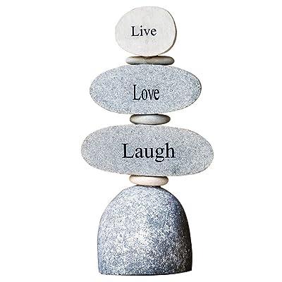 Live Love Laugh Engraved Stone Rock Cairn Zen Garden Sculpture : Outdoor Decor : Garden & Outdoor