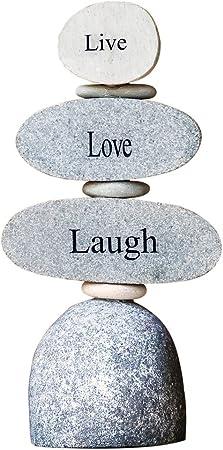 Live Love Laugh Engraved Stone Rock Cairn Zen Garden Sculpture Outdoor Decor Garden Outdoor Amazon Com