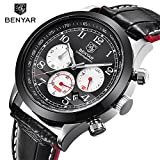 Benyar Watches for men leather black sport male wirst watch band Business Casual waterproof Military clock Quartz Watches