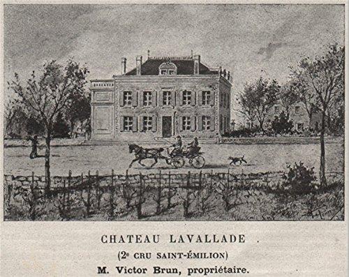 - SAINT-CHRISTOPHE-DES-BARDES. Chateau Lavallade (2e Cru St-Émilion). SMALL - 1908 - old print - antique print - vintage print - Gironde art prints