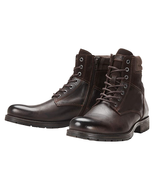 4a042d65f453 JACK Leather   JONES Lederstiefel jfwZACHARY Leather JACK Herren Schnürboot  Boots Leder Stiefel Stiefeletten Combat Boots Braun (Brown Stone Fit eu)  a29574