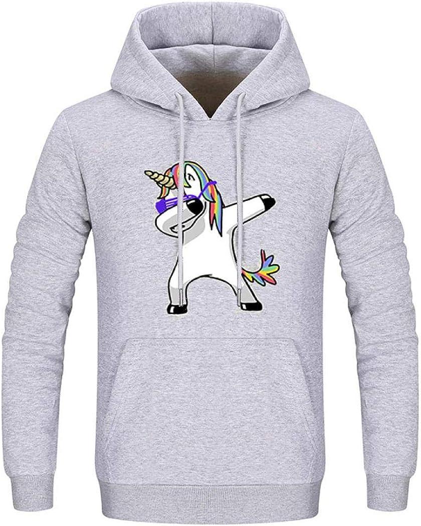 Hoodie Mens Fleece Long Sleeve Pullover Crewneck Sweatshirt Fall Warm Slim Fit Unicorn Funny Hoodie