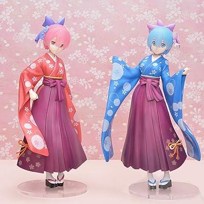 SEGA Rezero Re:Zero Rem Ram Super Premium Figure Japanese Style Kimono 23cm 9 inches (2 Figures Set): Toys & Games