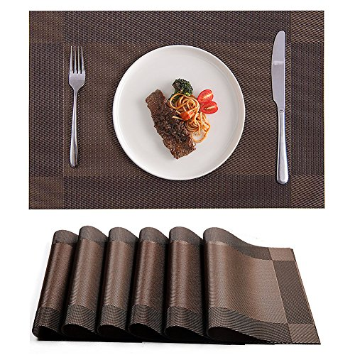 Akway Placemats Set of 6 Washable Table Mats Cup Mat Heat/St