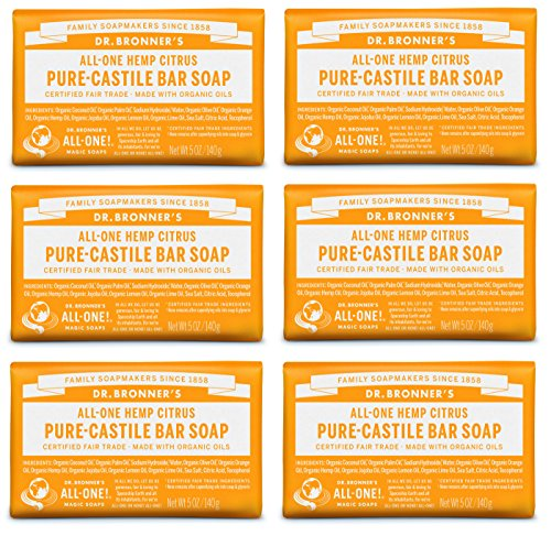 Dr. Bronner's Pure-Castile Bar Soap – Citrus, 5 oz, 6 Pack by Dr. Bronner's