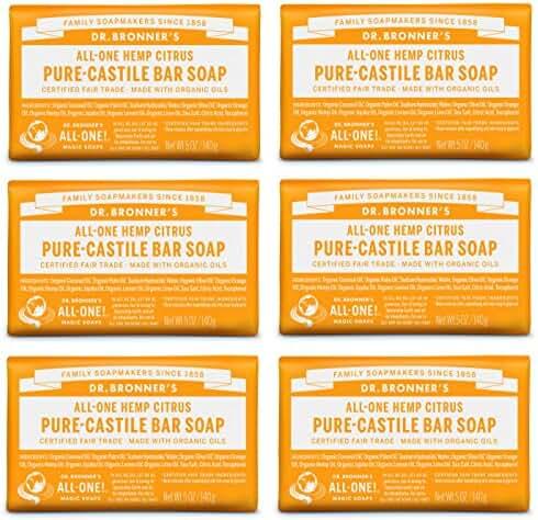 Dr. Bronner's Pure-Castile Bar Soap – Citrus, 5 oz., 6 Pack