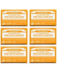 Dr. Bronner's Pure-Castile Bar Soap – Citrus, 5 oz, 6 Pack