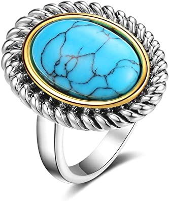 Vintage Turquoise Silver Ladies Ring