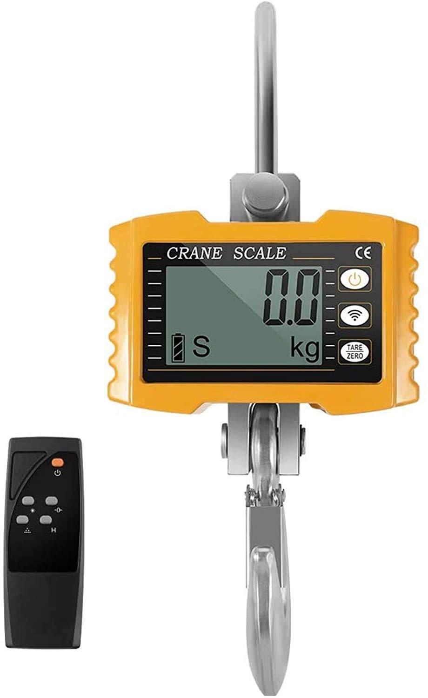 4YANG1000KG Digital PatallaInteligente Báscula Electrónica Portátil con Gancho Resistente Crane Escala Industrial Báscula Digidal Electrónic sensor precisión Alta Precisión Batería de litio (amarillo)