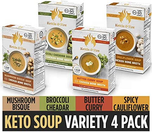 Keto Soup with Bone Broth Variety Pack by Kettle and Fire, Pack of 4, Spicy Cauliflower, Butter Curry, Broccoli Cheddar, Mushroom Bisque, Organic Vegetables, Diet Friendly Grocery Food, Snack, Drink