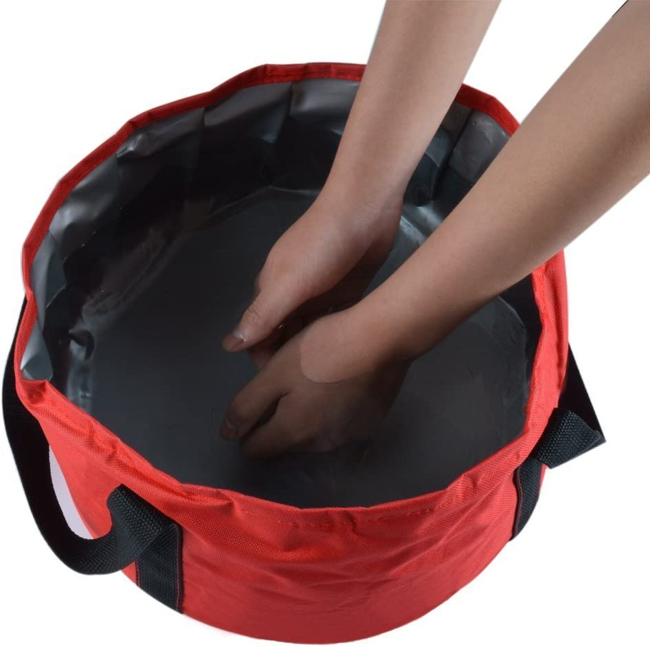 UrCool 15L Lightweight Portable Folding Wash Basin Bucket Foldable Collapsible Bucket Trips Foot Bath Folding Water Bag for Outdoor Travel Camping Hiking Fishing Washing with Carrying Pouch