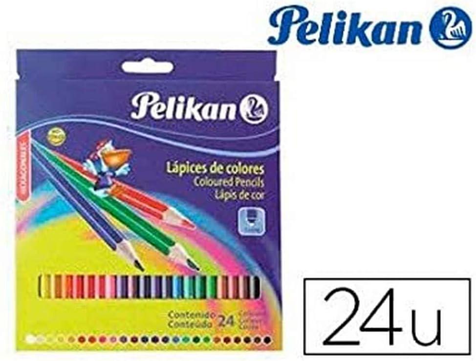 Pelikan 010012225 - Estuche de carton con 24 lápices de colores: Amazon.es: Oficina y papelería
