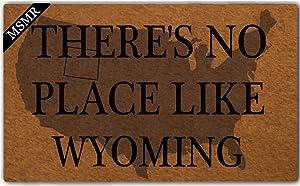 MsMr Funny Doormat Entrance Floor Mat There's No Place Like Wyoming Home Doormat Indoor Outdoor Decor Doormat Non-Slip Rubber Backing Mat 23.6x15.7 Inch