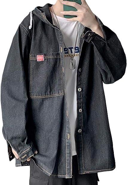 [ShuMing] メンズ デニムジャケット フード付き パーカー ゆったり ジージャン 長袖 カジュアル デニム ジャケット ストリート アウター 大きいサイズ 秋