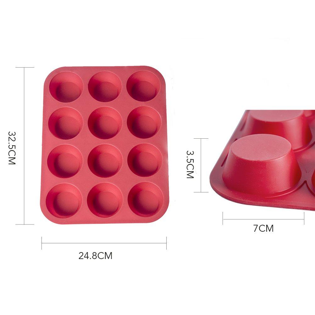 Conjunto Sartén para Molletes Molletes y 12 Vicloon 12pcs Panecillos Redondos Molde de Silicona Anti-adhesivas - Disponible para Lavavajillas Microondas ...