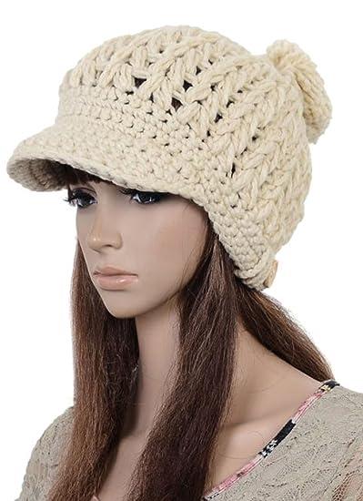 872be572f91b3 JOYHY Women s Solid Color Winter Pompon Knit Hat Visor Cap (Beige) at  Amazon Women s Clothing store