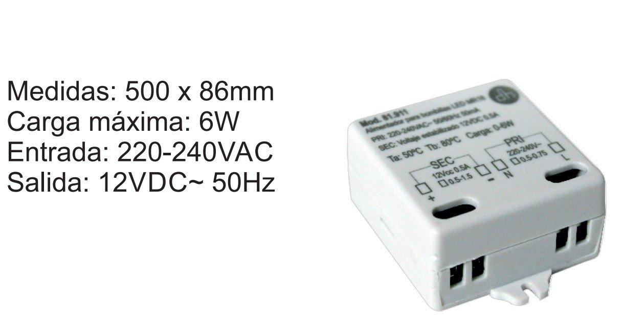 Transformador para bombillas LED MR16 12Vdc 6W: Amazon.es: Bricolaje y herramientas