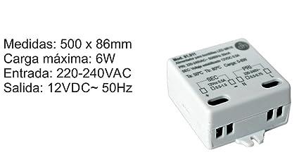 Transformador para bombillas LED MR16 12Vdc 6W