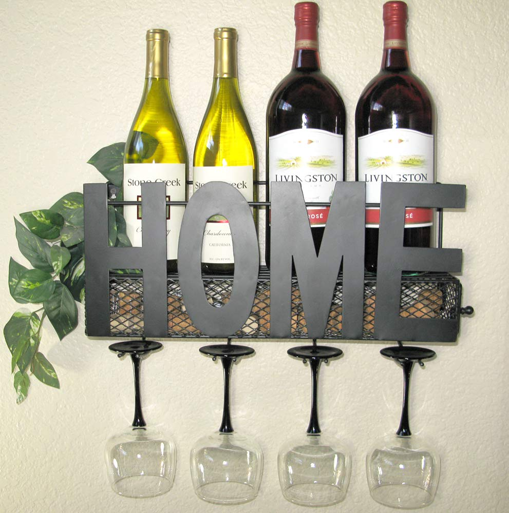 Rustic Home Decor WALL MOUNTED WINE RACK | RUSTIC WALL DECOR | HAND CRAFTED | BOTTLE & GLASS HOLDER | CORK STORAGE | FREE SILICONE WINE STOPPER GIFT | HOME WALL DECOR | BEVERAGE STORAGE RACK