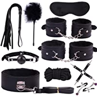 MIUSI 10pc Bundle Tight Binding, Leather Handcuffs Set Lovely Toys for Couples Secret Bedroom Games