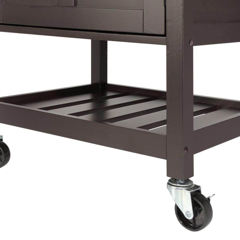 Homegear deluxe kitchen storage cart island w rubberwood cutting block - Amazon Com Homegear Compact Kitchen Storage Cart Island With Rubberwood Cutting Block Brown Kitchen Dining
