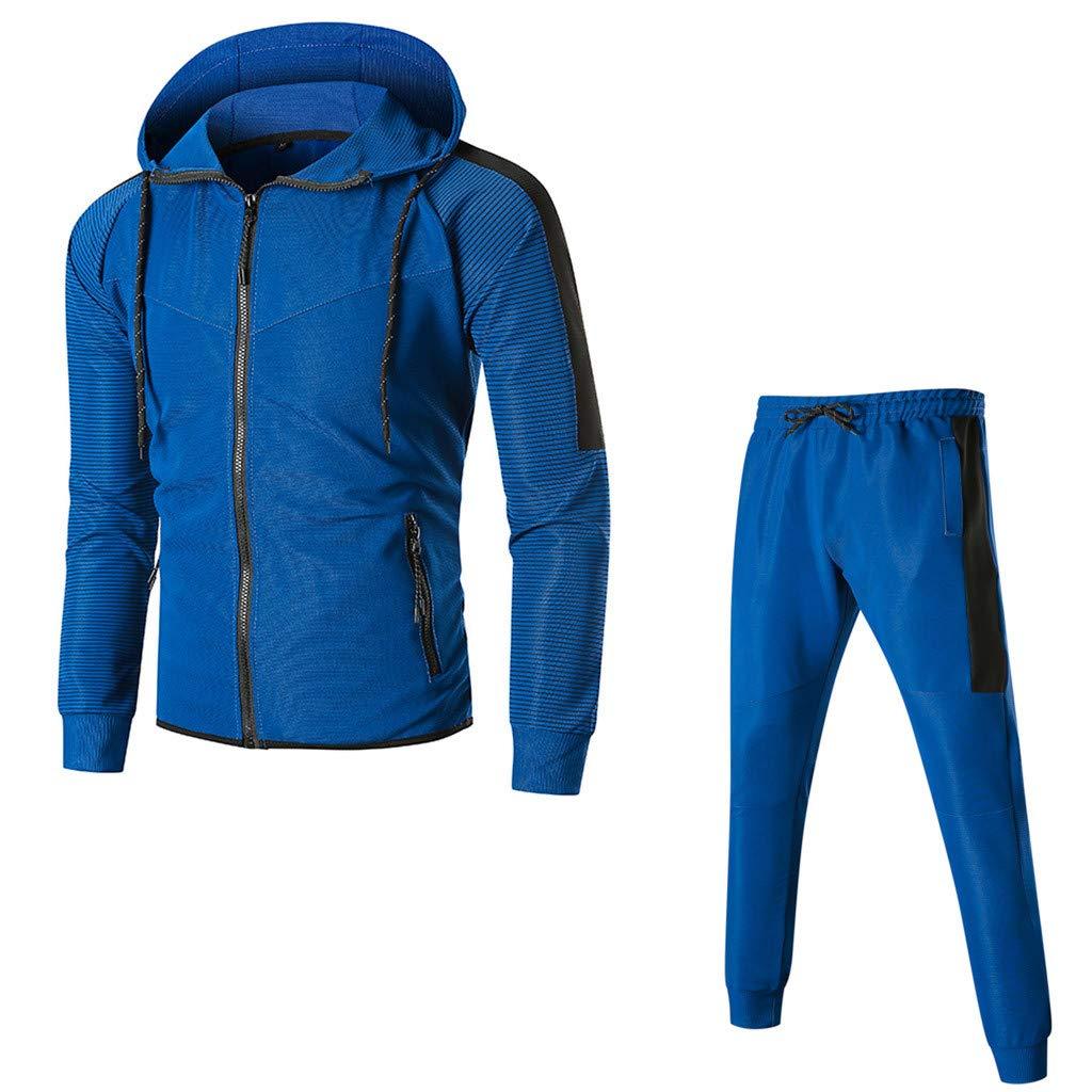 Tracksuits Mens Hoodies Pervobs Men Active Tracksuits Zipper Hooded  Sweatshirt Sport Sweatpants Sets Tracksuit Sports Suit Sports & Outdoors