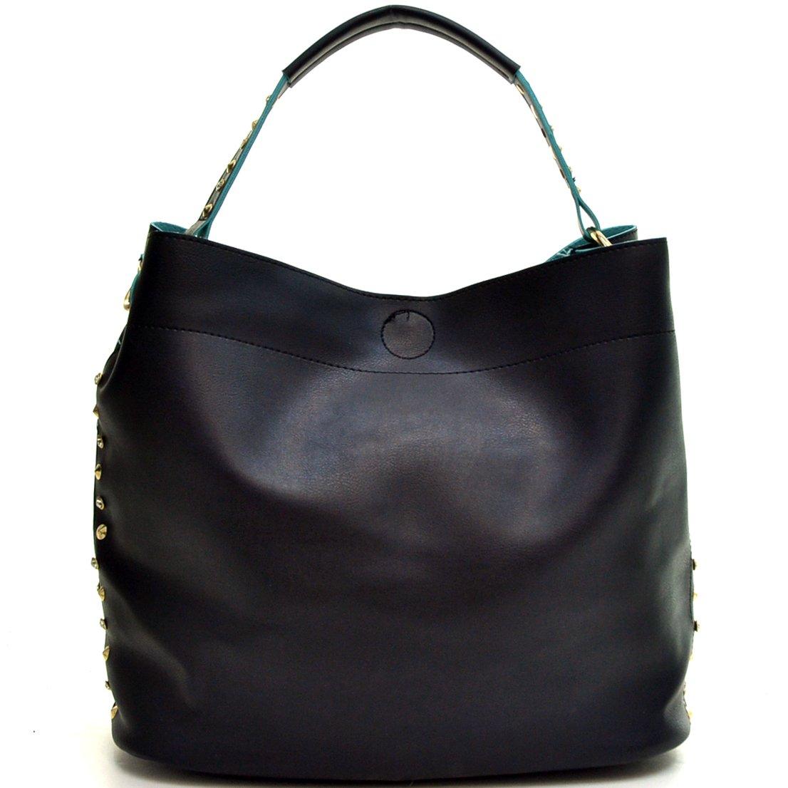 Amazon.com  Dasein Faux Leather Studded 2-in-1 Hobo Shoulder Bag Handbag -  Black  Shoes dc9be64dff107