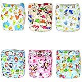 InnooBaby Baby's Cloth Pocket Diaper 6 Packs + 12 Diaper Inserts | Washable, Reusable and Adjustable | Eco-Friendly Cotton and Save Lots of Money for You